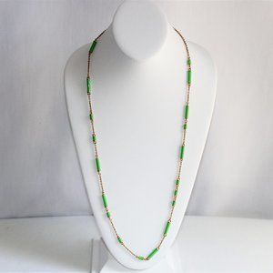 Kate Spade Green Enamel Station Gold Necklace